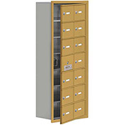 Cell Phone Locker with Access Panel 19178-14GRK - Recessed Mounted, Keyed Locks, 14 A Doors, Gold