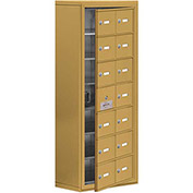 Cell Phone Locker with Access Panel 19178-14GSK - Surface Mounted, Keyed Locks, 14 A Doors, Gold