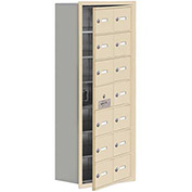 Cell Phone Locker with Access Panel 19178-14SRK - Recessed Mounted Keyed Locks 14 A Doors, Sandstone