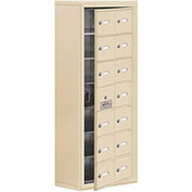 Cell Phone Locker with Access Panel 19178-14SSK - Surface Mounted Keyed Locks, 14 A Doors, Sandstone
