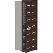 Cell Phone Locker with Access Panel 19178-14ZRK - Recessed Mounted, Keyed Locks, 14 A Doors, Bronze