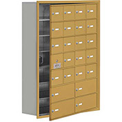 Cell Phone Locker with Access Panel 19178-24GRK - Recessed Mounted Keyed Locks, 20A & 4B Doors, Gold