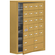 Cell Phone Locker with Access Panel 19178-24GSK - Surface Mounted, Keyed Locks, 20A & 4B Doors, Gold