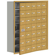 Cell Phone Locker with Access Panel 19178-35GRK - Recessed Mounted, Keyed Locks, 35 A Doors, Gold