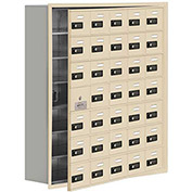 Cell Phone Locker with Access Panel 19178-35SRC - Recessed Mounted Combo Locks 35 A Doors, Sandstone