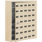 Cell Phone Locker with Access Panel 19178-35SSC - Surface Mounted, Combo Locks 35 A Doors, Sandstone