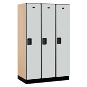 Salsbury Extra Wide Designer Wood Locker 21361 - Single Tier 3 Wide 15x21x72 Gray Partial Assembled