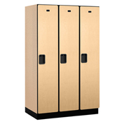 Salsbury Extra Wide Designer Wood Locker 21361 - Single Tier 3 Wide 15x21x72 Maple Partial Assembled