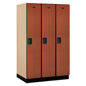 Salsbury Extra Wide Designer Wood Locker 21364  Single Tier 3 Wide 15x24x72 Cherry Partial Assembled