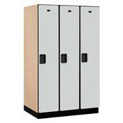 Salsbury Extra Wide Designer Wood Locker 21364 - Single Tier 3 Wide 15x24x72 Gray Partial Assembled