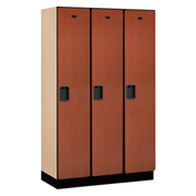 Salsbury Extra Wide Designer Wood Locker 21368  Single Tier 3 Wide 15x18x72 Cherry Partial Assembled