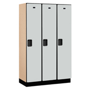 Salsbury Extra Wide Designer Wood Locker 21368 - Single Tier 3 Wide 15x18x72 Gray Partial Assembled