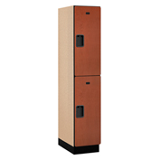 Salsbury Extra Wide Designer Wood Locker 22161 - Double Tier 1 Wide 15x21x36 Cherry Assembled