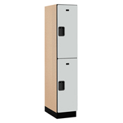 Salsbury Extra Wide Designer Wood Locker 22161 - Double Tier 1 Wide 15x21x36 Gray Assembled