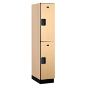 Salsbury Extra Wide Designer Wood Locker 22161 - Double Tier 1 Wide 15x21x36 Maple Assembled