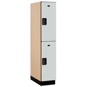 Salsbury Extra Wide Designer Wood Locker 22164 - Double Tier 1 Wide 15x24x36 Gray Assembled