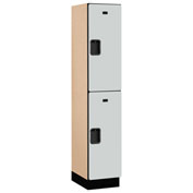 Salsbury Extra Wide Designer Wood Locker 22168 - Double Tier 1 Wide 15x18x36 Gray Assembled