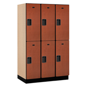 Salsbury Extra Wide Designer Wood Locker 22361  Double Tier 3 Wide 15x21x36 Cherry Partial Assembled