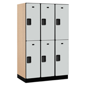 Salsbury Extra Wide Designer Wood Locker 22361 - Double Tier 3 Wide 15x21x36 Gray Partial Assembled