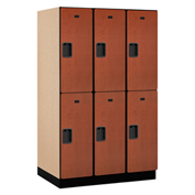 Salsbury Extra Wide Designer Wood Locker 22364 - Double Tier 3 Wide 15x24x36 Cherry Unassembled