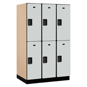 Salsbury Extra Wide Designer Wood Locker 22364 - Double Tier 3 Wide 15x24x36 Gray Unassembled
