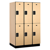 Salsbury Extra Wide Designer Wood Locker 22364 - Double Tier 3 Wide 15x24x36 Maple Unassembled