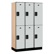 Salsbury Extra Wide Designer Wood Locker 22368 - Double Tier 3 Wide 15x18x36 Gray Partial Assembled