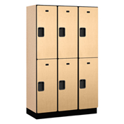 Salsbury Extra Wide Designer Wood Locker 22368 - Double Tier 3 Wide 15x18x36 Maple Partial Assembled