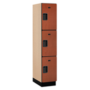 Salsbury Extra Wide Designer Wood Locker 23161 - Triple Tier 1 Wide 15x21x24 Cherry Assembled