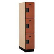 Salsbury Extra Wide Designer Wood Locker 23164 - Triple Tier 1 Wide 15x24x24 Cherry Assembled