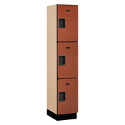 Salsbury Extra Wide Designer Wood Locker 23168 - Triple Tier 1 Wide 15x18x24 Cherry Assembled