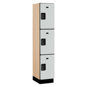 Salsbury Extra Wide Designer Wood Locker 23168 - Triple Tier 1 Wide 15x18x24 Gray Assembled