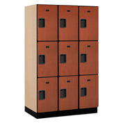 Salsbury Extra Wide Designer Wood Locker 23361  Triple Tier 3 Wide 15x21x24 Cherry Partial Assembled