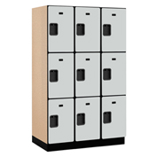 Salsbury Extra Wide Designer Wood Locker 23361 - Triple Tier 3 Wide 15x21x24 Gray Partial Assembled