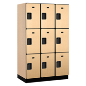 Salsbury Extra Wide Designer Wood Locker 23361 - Triple Tier 3 Wide 15x21x24 Maple Partial Assembled