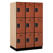 Salsbury Extra Wide Designer Wood Locker 23364  Triple Tier 3 Wide 15x24x24 Cherry Partial Assembled