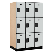 Salsbury Extra Wide Designer Wood Locker 23364 - Triple Tier 3 Wide 15x24x24 Gray Partial Assembled