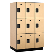 Salsbury Extra Wide Designer Wood Locker 23364 - Triple Tier 3 Wide 15x24x24 Maple Partial Assembled