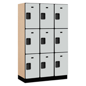 Salsbury Extra Wide Designer Wood Locker 23368 - Triple Tier 3 Wide 15x18x24 Gray Partial Assembled