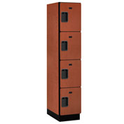 Salsbury Extra Wide Designer Wood Locker 24161 - Four Tier 1 Wide 15x21x18 Cherry Unassembled
