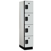 Salsbury Extra Wide Designer Wood Locker 24161 - Four Tier 1 Wide 15x21x18 Gray Unassembled
