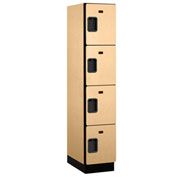 Salsbury Extra Wide Designer Wood Locker 24161 - Four Tier 1 Wide 15x21x18 Maple Assembled