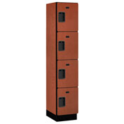 Salsbury Extra Wide Designer Wood Locker 24168 - Four Tier 1 Wide 15x18x18 Cherry Unassembled
