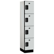 Salsbury Extra Wide Designer Wood Locker 24168 - Four Tier 1 Wide 15x18x18 Gray Assembled