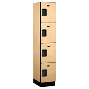Salsbury Extra Wide Designer Wood Locker 24168 - Four Tier 1 Wide 15x18x18 Maple Assembled