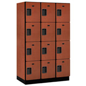 Salsbury Extra Wide Designer Wood Locker 24361 - Four Tier 3 Wide 15x21x18 Cherry Partial Assembled