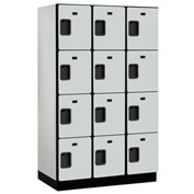 Salsbury Extra Wide Designer Wood Locker 24361 - Four Tier 3 Wide 15x21x18 Gray Partially Assembled