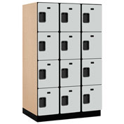 Salsbury Extra Wide Designer Wood Locker 24364 - Four Tier 3 Wide 15x24x18 Gray Partially Assembled