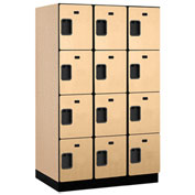 Salsbury Extra Wide Designer Wood Locker 24364 - Four Tier 3 Wide 15x24x18 Maple Partially Assembled