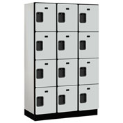 Salsbury Extra Wide Designer Wood Locker 24368 - Four Tier 3 Wide 15x18x18 Gray Partially Assembled